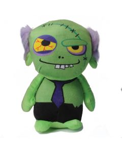 """US Toy Stuffed Spooky Dead Zombie with Tie 10"""" Plush Toy, Green Black"""