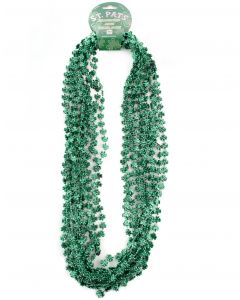 """Plastic St Patrick's Day Shamrock Necklaces 12pc 32"""" Beads Necklaces, Green"""