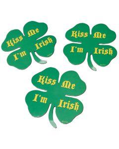 "US Toy Shamrock Shaped Kiss Me I'm Irish 4"" Magnets, Green, 12 Pack"