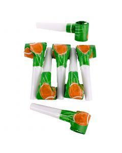 """US Toy Superbowl Football Party 12pc 10"""" Noisemaker blowouts, Green Brown"""