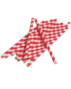 "US Toy Vintage Party Home Decor Striped 7.5"" Paper Straws, Red White, 12 Pack"