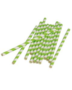 "Vintage Party Home Decor Striped 7.5"" Paper Straws, Lime Green White, 12 Pack"