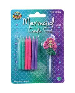 "US Toy Mermaid Cake Topping Set 7pc 2.75"" Candles, Pink Purple Green"