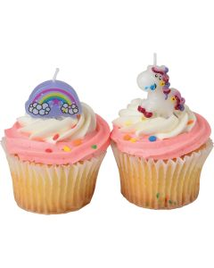 "US Toy Pastel Rainbow Unicorn Cake 4pc 3.5"" Candles, Purple Pink White"