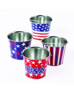 "Assorted Mini Patriotic Pail 2.75"" T Gift Buckets, Red White Blue, 12 Pack"