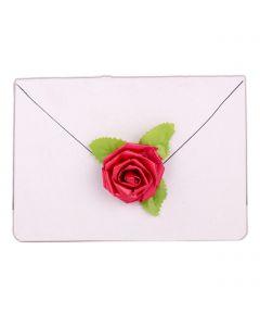 "Valentines 3D Pretty Ribbon Rose 2.5"" Gift Embellishment Sticker, Red Green"