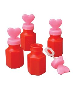"Valentine Bottle With Heart Lid and Wand 3"" Bubbles, Pink Red White"