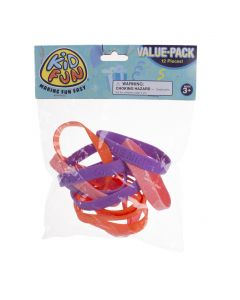 """US Toy Valentine Be Mine Rubber Band 4"""" Bracelets, Purple Pink Red, 12 Pack"""