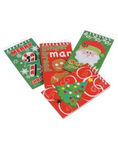 "US Toy Mini Christmas Spiral Notebooks 3.5"" Novelty Toy, Assorted, 12 Pack"