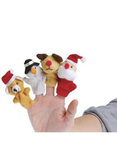 """Veil Entertainment Holiday Christmas Characters 4pc 3"""" Finger Puppets, Assorted"""