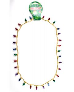 """US Toy Mini Holiday Light Bulb Beads Necklace, Gold, One-Size 32"""""""