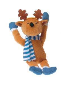 "Christmas Stuffed Winter Moose Reindeer w Scarf 7.5"" Plush Animal, Brown Blue"