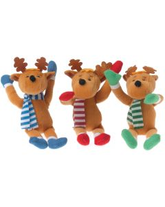 "Stuffed Winter Moose Reindeer w Scarf 7.5"" Plush Animal, Brown Multi, 12 Pack"