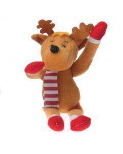"Christmas Stuffed Winter Moose Reindeer w Scarf 7.5"" Plush Animal, Brown Red"