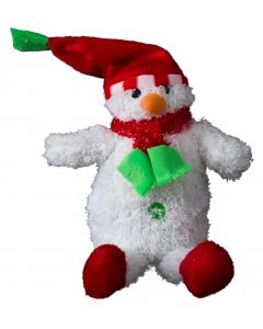 "US Toy Cute Holiday Beanbag Snowman 13"" Plush Toy, White Red Green"