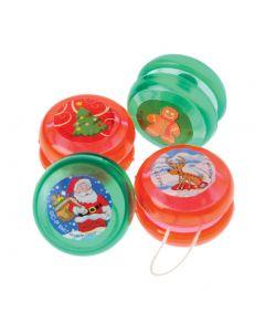 "US Toy Christmas Mini Yo-Yos 1.5"" Stocking Stuffer, Red Green, 12 Pack"