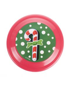 "Christmas Candy Cane Flying Saucer 6"" Stocking Stuffer, Red Green"