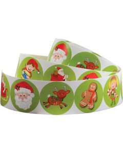"""US Toy Christmas Santa Elf Holiday 1.5"""" Party Favor Stickers,100pc Per Roll"""