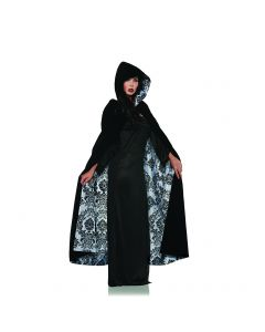 Deluxe Hooded Velvet and Satin Flocked Lined Cape, Black White, One size