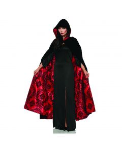 Underwraps Deluxe Velvet and Satin Flocked Cape, Black, One size