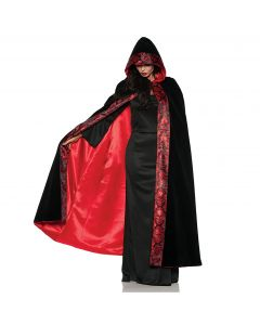 Underwraps Halloween Deluxe Velvet Skull Cape, Black Red, One Size