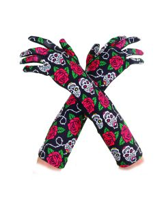Underwraps Day of the Dead Rose Sugar Skull Gloves, Black Red Green, One-Size