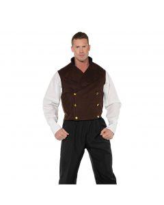 Halloween Renaissance Steampunk Men Costume Vest, Brown, One Size