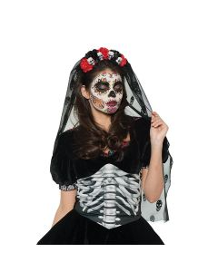 Halloween Day of the Dead Mantilla Veil & Roses Headband, Black Red, One Size