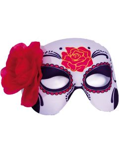 Halloween Day of the Dead Sugar Skull Rose Half Mask, White Black Red, One Size