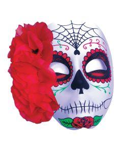 Halloween Day of the Dead Sugar Skull Spider Web Rose Mask, Black Red