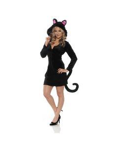 Halloween Cat Hooded Mini Costume Dress w Ears Tail, Black Pink, Small 4-6