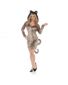 Hooded Mini Dress w Leopard Ears & Tail Hooded Dress, Brown Black, Medium 8-10