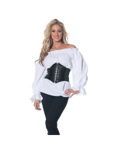 Renaissance Steampunk Pirate Sexy Long Sleeve Costume Blouse, White, Small 4-6
