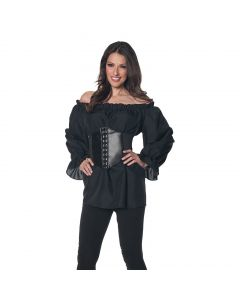 Halloween Renaissance Steampunk Pirate Costume Blouse, Black, Large 12-14