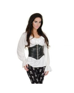 Renaissance Steampunk Pirate Costume Blouse with Ruffle, White, S 4-6