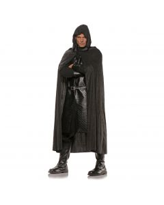 Underwraps Suede Medieval Fantasy Hooded Cape, Black, one size