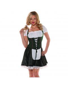 Underwraps Beer Maiden Top Costume Top, Green Black, Small 4-6
