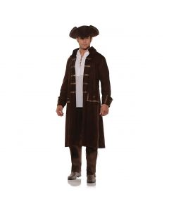 Halloween Steampunk Pirate 2pc Men Costume Coat & Hat Set, Brown, One Size