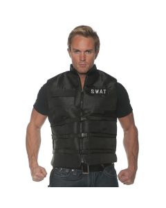Underwraps Swat Vest with Patches Costume Top, Black White, One-Size