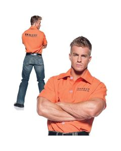Halloween Prisoner Inmate Men Costume Shirt, Orange, One Size