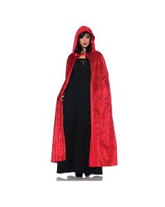 Underwraps Halloween Adult Hooded Velvet Cape, Red, One Size 55""