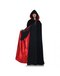 Underwraps Halloween Deluxe Velvet & Satin Cape, Black Red, One Size 63""