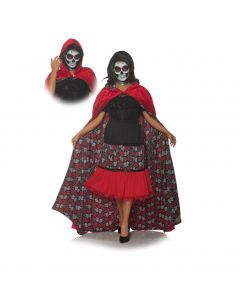 Underwraps Dia De Los Muertos Day of the Dead Velvet Cape, Red, One-Size