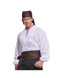 Halloween Renaissance Steampunk Pirate Men Costume Blouse, Cream, One Size