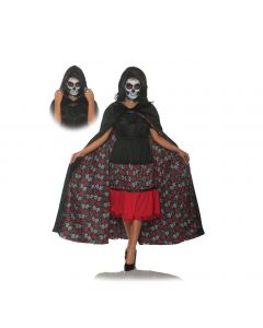 Underwraps Dia De Los Muertos Day of the Dead Velvet Cape, Black, One-Size