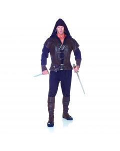 Underwraps Assassin Complete Halloween 5pc Men Costume, Brown Black, One Size