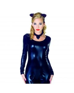 Underwraps Cat ear set 3pc Women Costume Accessory Set, Black, One size