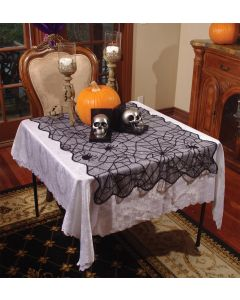"Underwraps Spider Lace Tablecloth Small 28"" x 39"" Fabric Table Cloth, Black"
