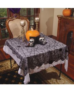 "Underwraps Spider Web Lace Tablecloth 39"" x 79"" Fabric Table Cloth, Black"