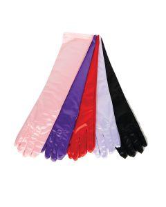 Underwraps Halloween Full Length Elegant Satin Gloves, Black, One-Size